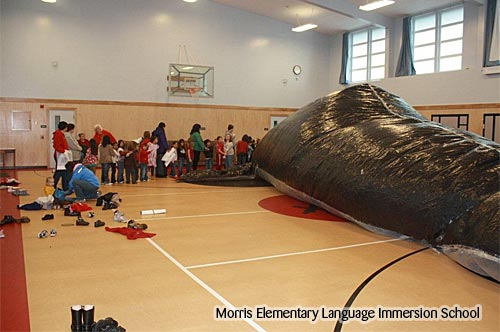 Photo of a black inflatable whale in the gym and a long line of students waiting to enter it.
